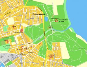 Stjernen viser hvor du finder Psykiatrisk Praksis på Arresødal 79 i Frederiksværk.